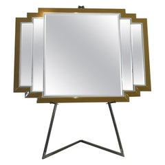 Large Art Deco Design Mirror, Gold and Silver Frame
