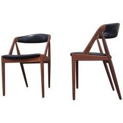 Pair of Danish Midcentury Teak Chairs by Kai Kristiansen, 1960s