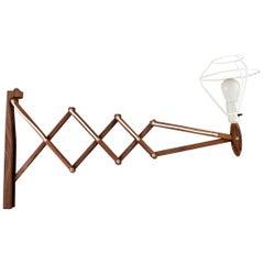 Le Klint / Erik Hansen, Upturned Scissors Lamp in Teak, Danish Design, 1960s