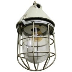 Vintage Industrial Caged Bully or Bunker Lamp by EOW Germany