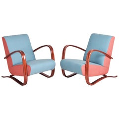 Pair of Art Deco Oak Armchairs H-269 from Czechoslovakia by Jindrich Halabala