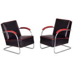 Pair of Black Tubular Steel Cantilever Armchairs, Chrome, New Leather Upholstery