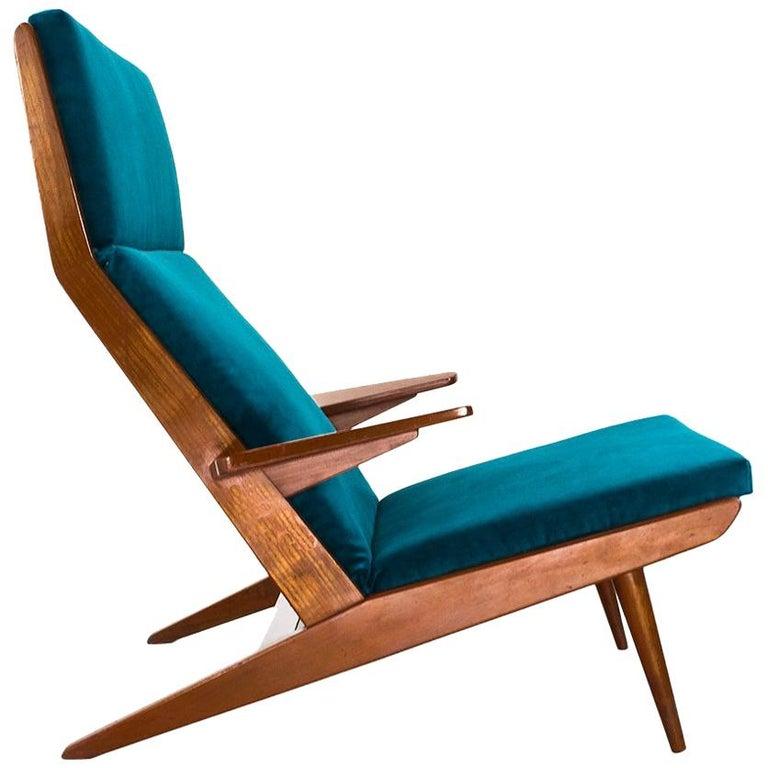 Scandinavian Modern High Back Lounge Chair in Teak and Velvet, 1960s, Denmark