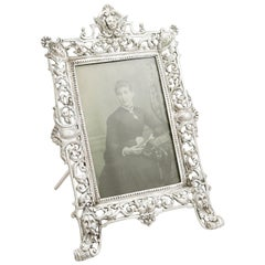 Antique Victorian Sterling Silver Photograph Frame, 1881