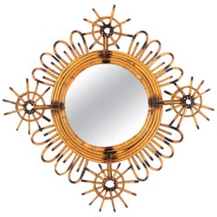 Decorative 1950s Spanish Handcrafted Rattan Abstract Flower Burst Mirror