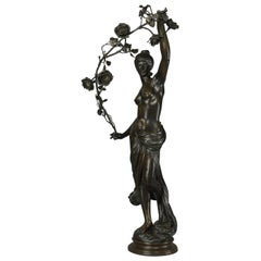 'Grand Nu Aux Feuillages', a Fine Patinated Bronzed Figural Group, circa 1900