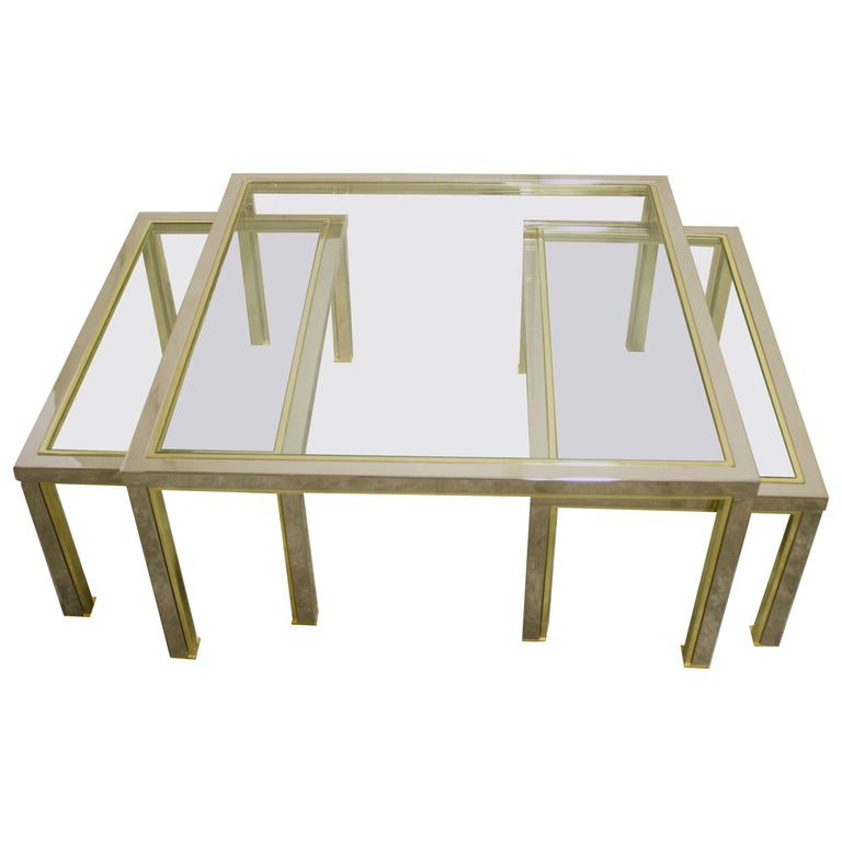 Brass Coffee Table and Side Tables, 1970s