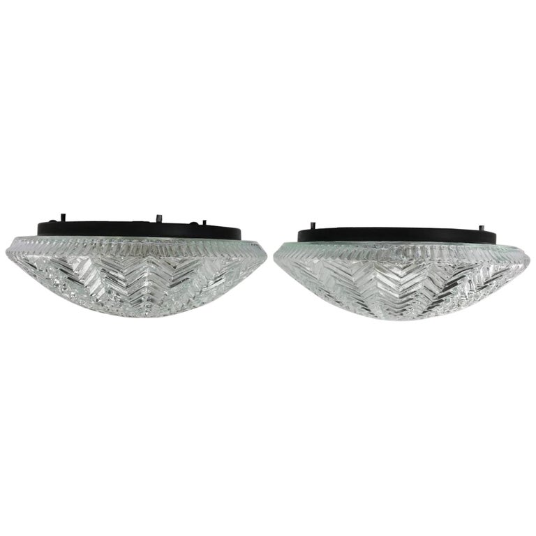 Pair of Herringbone Glass Flush Mount Light Fixtures For Sale