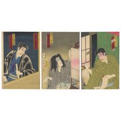 Kunichika Japanese Woodblock Print, Portrait Bust Triptych, Sword Ghost Story