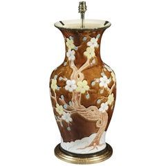 Large-Scale Brown Ceramic Floral Vase Now Mounted as a Lamp
