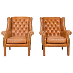 Windmill Chesterfield Leather Armchair Set Cognac One-Seat Vintage Chair