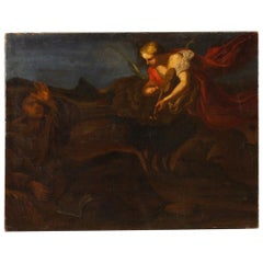 18th Century Oil on Canvas Italian Religious Apparition of Angel Painting, 1780