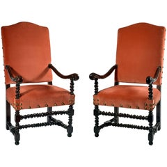 Pair of 17th Century Walnut Louis XIV Italian Armchairs