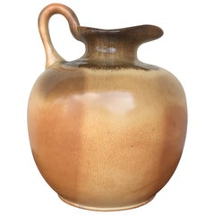 19th Century Spanish Glazed Terracotta Jug, Pot or Pitcher with Handle