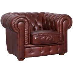 Chesterfield Leather Armchair Brown One-Seat Vintage Chair