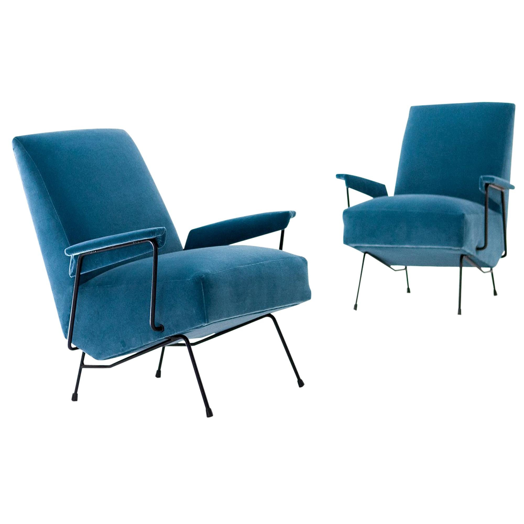 Pair Of Italian Light Blue Velvet And Black Enameled Iron Armchairs, 1950s  For Sale