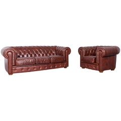 Chesterfield Leather Sofa Armchair Set Brown Three-Seat Vintage Couch