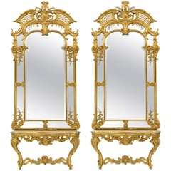 Pair of French 19th Century Louis XV Style Giltwood Mirrors and Consoles
