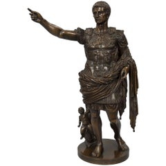 Italian 19th Century Patinated Bronze Statue of Augustus of Prima Porta