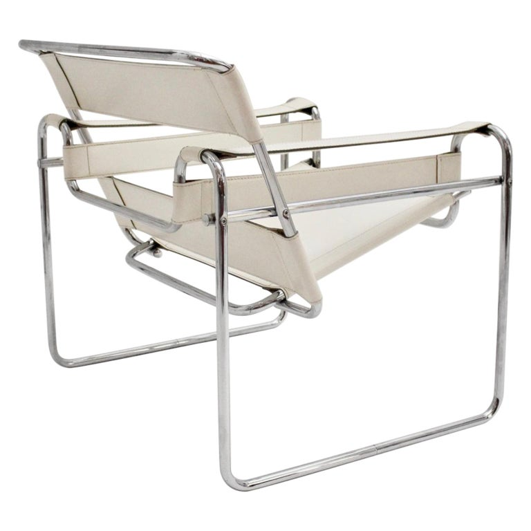 White Wassili Lounge Chair B 3 by Marcel Breuer Bauhaus Style For Sale