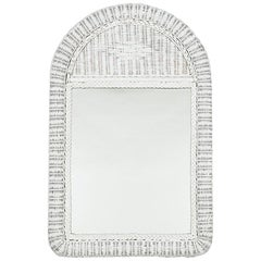 Rectangular Mirror with an Arched White-Painted Wicker Frame, 20th Century