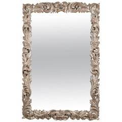 Rectangular Mirror with Carved Wood and Silver Gilt Frame