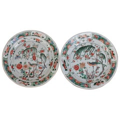 Two Famille Verte Plates in China Porcelain, Kangxi Period '1662-1722'