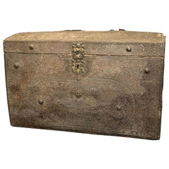 Leather and Oak Trunk with Studs of Spanish Origin from 1720