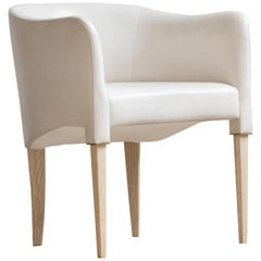 Parchment Dining Chair by Billy Cotton in Bleached Oak, Brass and White Leather