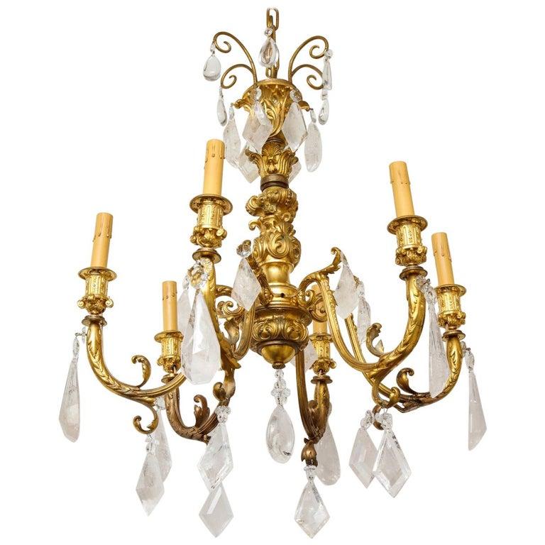 Rococo Style Gilt Bronze Six-Light Chandelier