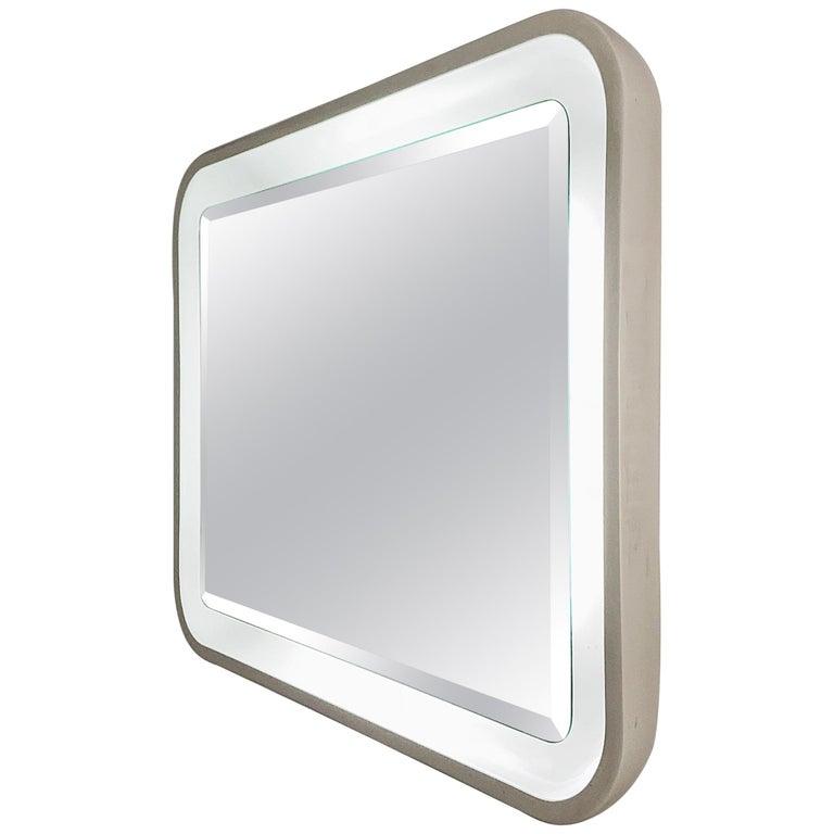 Italian Illuminated Backlit Rectangular Mirror, White, Italy, 1970s Midcentury