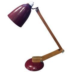 Vintage Midcentury Maclamp by Terence Conran Desk Lamp in Burgundy