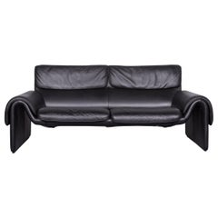 De Sede DS 2011 Designer Sofa Leather Black Two-Seat Couch Modern