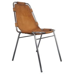"""Midcentury 1970s """"Les Arcs"""" Brown Leather and Chrome Chair"""