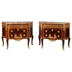 Pair of Transitional Style Gilt-Bronze Mounted Parquetry Commodes, circa 1870