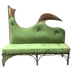 Vintage Green Velvet Sofa Burnished Brass Structure Stylized Bird Form, 1980