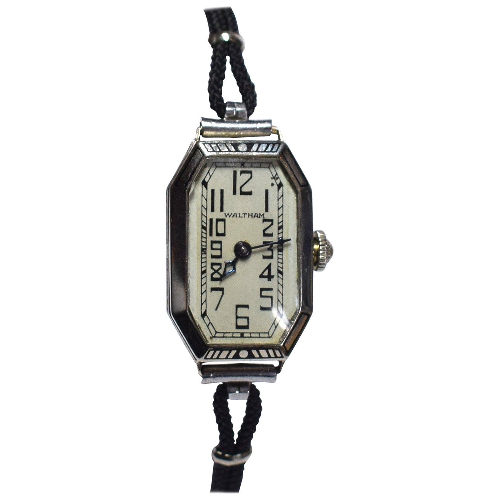 1930s Ladies Art Deco Enamel Waltham Wristwatch