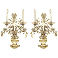 Pair of Silvered Metal Three-Light Sconces
