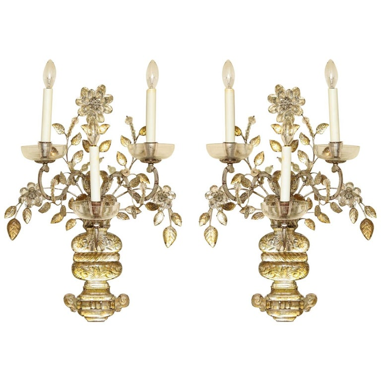 Pair of Silvered Metal Three-Light Sconces For Sale