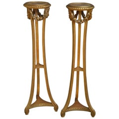 Exceptional Pair of Giltwood Torchères