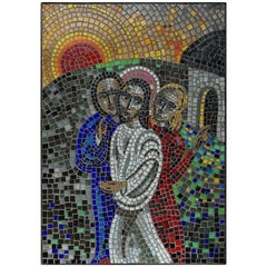 Handcrafted Midcentury Glass Mosaic Picture of Resurrection of Jesus in Frame