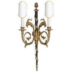 Louis XVI Style Gilt and Burnished Bronze Sconce