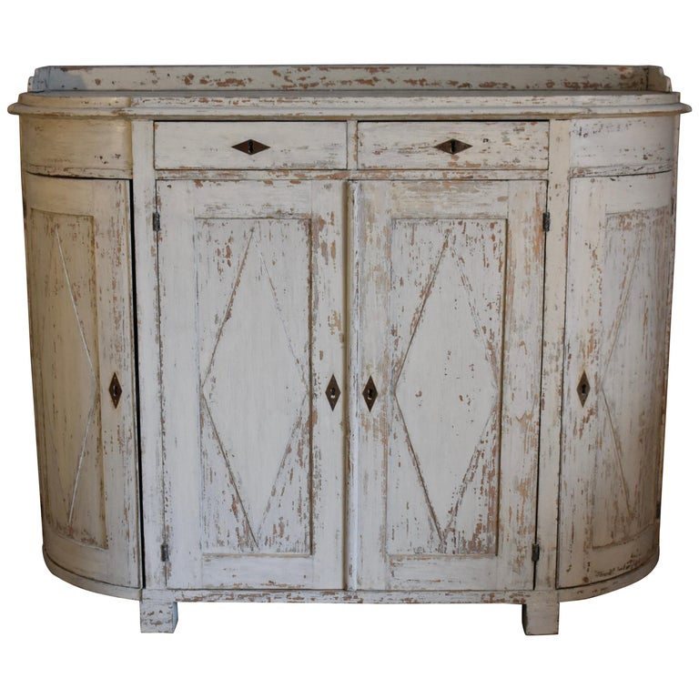 Early 19th Century Swedish Four Door Demilune Gustavian Cupboard For Sale