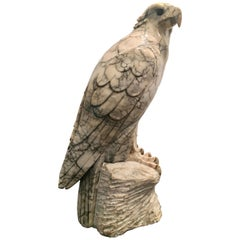 Hand-Carved Marble Sculpture of a Bald Eagle
