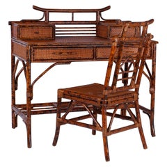 British Colonial Style Faux Tortoise and Grass Cloth Desk and Chair