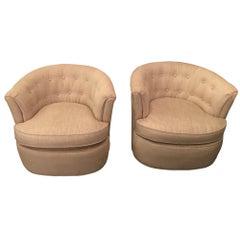 Pair of Tan Linen Swivel Chairs