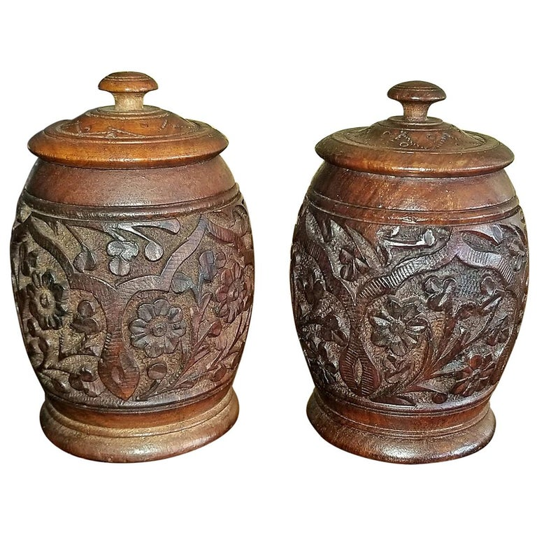 19th Century Anglo-Indian Pair of Carved Wooden Spice Urns