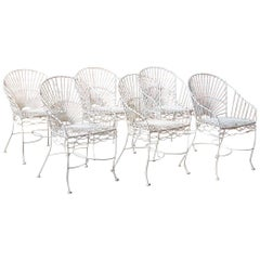 Set of Six French Iron and Wire Garden Chairs
