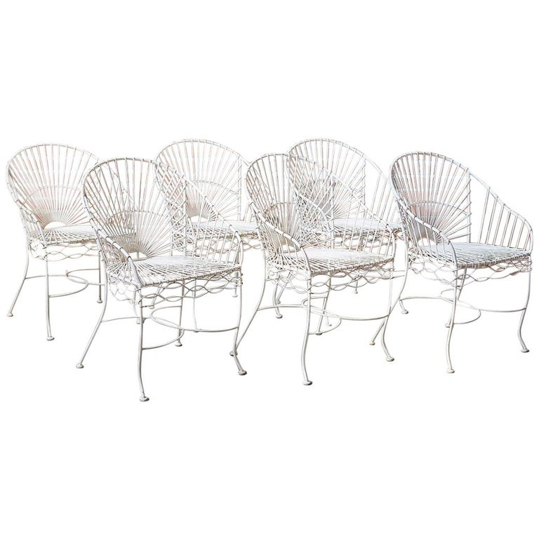 Set of Six French Iron and Wire Garden Chairs For Sale