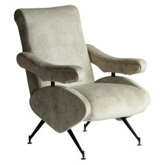 Nello Pini, Rare Italian Lounge Chair, Fabric, Steel, 1950s, Italy